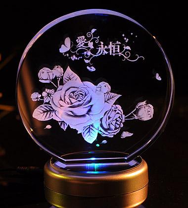切角圓形3D水晶內雕玫瑰花