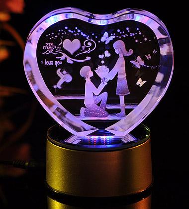 心形3D水晶內雕愛在心里