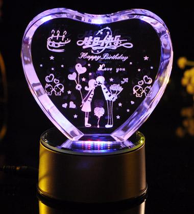 心形3D水晶內雕生日快樂