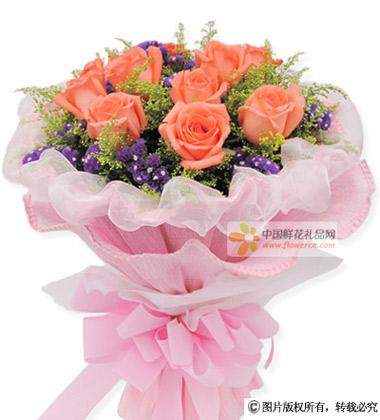 11枝粉玫瑰+黄莺+紫色勿忘我