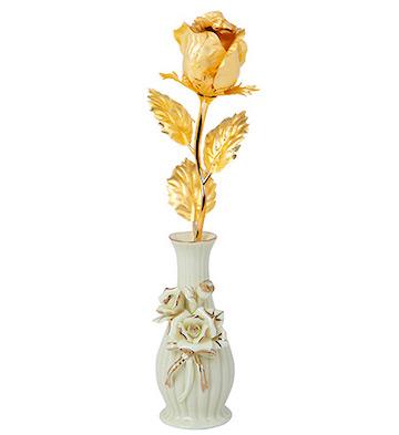 千足金箔玫瑰花/大号含苞+陶瓷花瓶