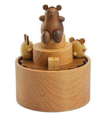 原木迷你小熊音乐盒