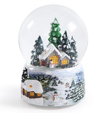雪人房子LED灯水晶球音乐盒