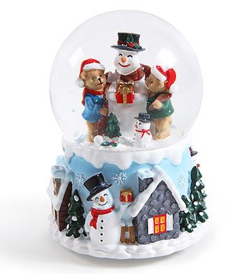 熊与雪人自喷雪花旋转水晶球音乐盒