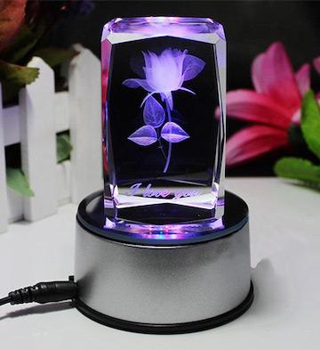 3D水晶内雕玫瑰花