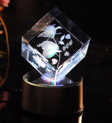 切角方块3D水晶内雕玫瑰花