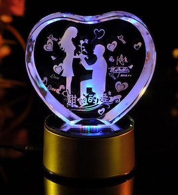 心形3D水晶内雕甜蜜的爱