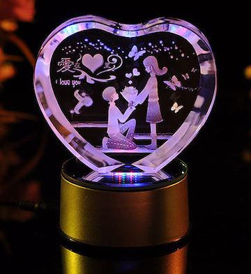 心形3D水晶内雕爱在心里