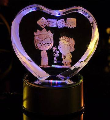心形3D水晶内雕欢喜冤家