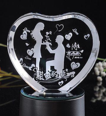 心形3D水晶内雕甜蜜的爱(单品)