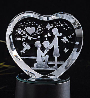 心形3D水晶内雕爱在心里(单品)