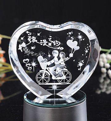 心形3D水晶内雕浪漫之约(单品)