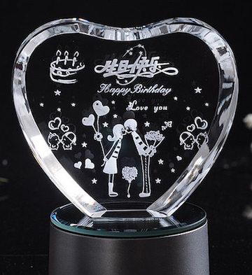 心形3D水晶内雕生日快乐(单品)