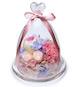 FlowerSong永生花系列:进口粉色康乃馨1枝,紫心奥斯汀玫瑰1朵,浅粉桃色小玫瑰2朵,搭配白粉双色绣球,蓝色绣球