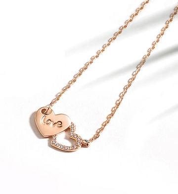 T400爱心银项链女纯银双心形锁骨颈链