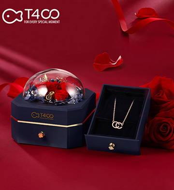 T400雙C項鏈女鎖骨鏈鑲施華洛世奇鋯電鍍玫瑰金