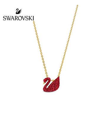 施华洛世奇红色天鹅 ICONIC SWAN项链/镀金色