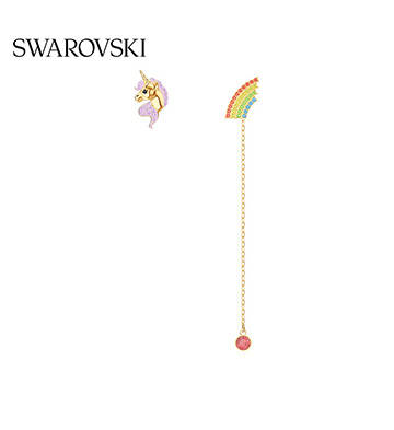 施華洛世奇獨角獸彩虹不對稱耳環/鍍金色