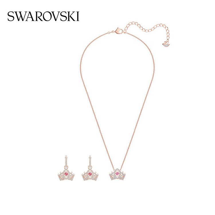 施華洛世奇皇冠項鏈+耳環套裝/鍍玫瑰金色
