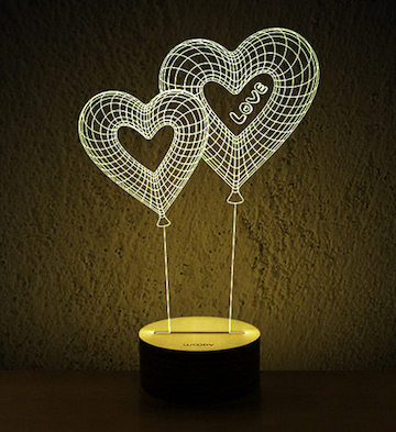 3D木质创意LED灯/心恋