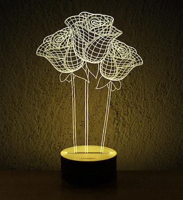 Woody3D木質創意LED燈/玫瑰花