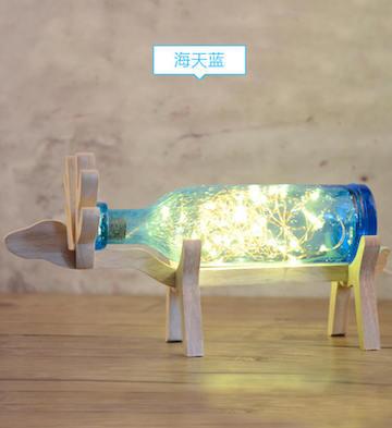 woody手工氣泡玻璃小鹿燈(海天藍)