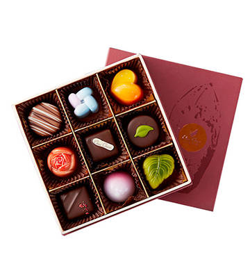 巧克巧蔻定制9粒装手工夹心巧克力
