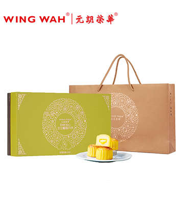 香港元朗荣华致味流心芝士榴莲月饼礼盒装