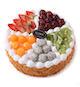 2磅(8寸)水果蛋糕:圆形欧式水果蛋糕,5种各色水果装饰。