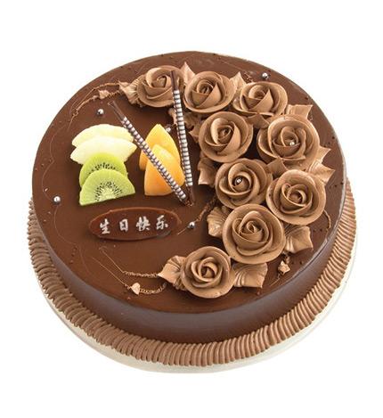 巧克力蛋糕:2磅(8寸)圆形巧克力蛋糕:巧克力色玫瑰花图片