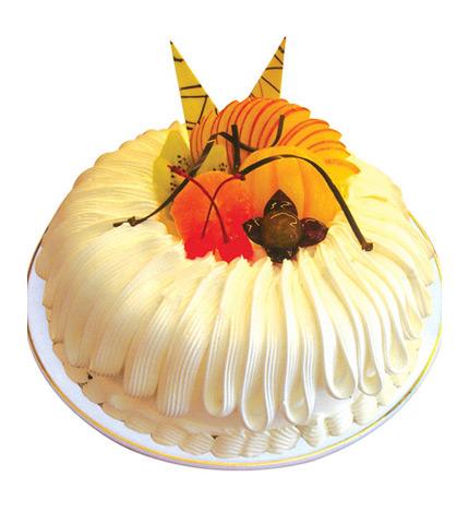 纯真年代:2磅(8寸)圆形鲜奶水果蛋糕:时令水果及拉