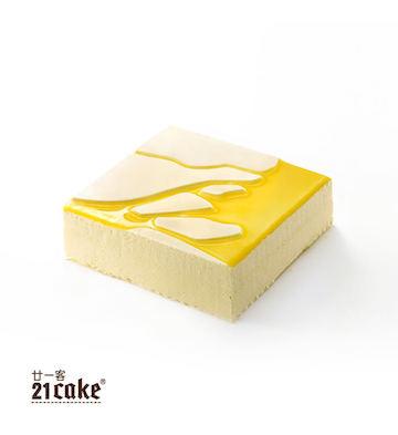 百香果酸乳酪慕斯蛋糕(1磅)+方形蠟燭