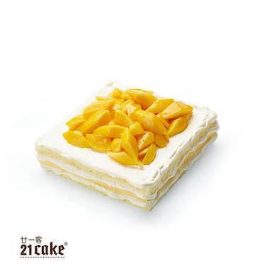 芒果奶油蛋糕(2磅)+方形蠟燭