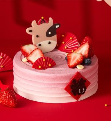 哈皮牛耶樹莓紅絲絨蛋糕