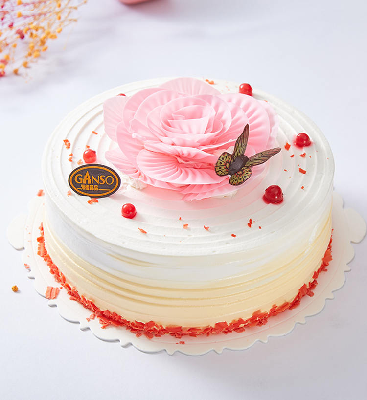 食用花卉与瓜果_蝶恋花景(12寸):12寸,鲜奶蛋糕。原味蛋胚、布丁夹层、什锦水果 ...