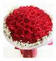 99枝精品红玫瑰花束,满天星围绕。