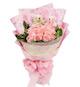 16枝粉玫瑰,5寸小熊2只,适量绿叶