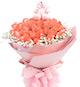 33枝粉玫瑰,满天星围绕一圈;5寸小熊一只(小熊依城市不同,略有差异,以当地实际出货为准)