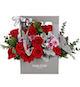 红玫瑰19枝、紫色小菊3枝、搭配适量尤加利、银叶菊、绿叶
