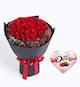 33枝红玫瑰,石竹梅20枝<br>德芙心语巧克力98克
