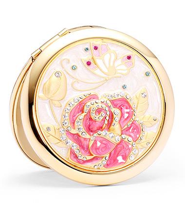粉玫瑰花化妆镜