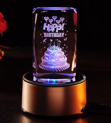 3D水晶内雕-Happy Birthday