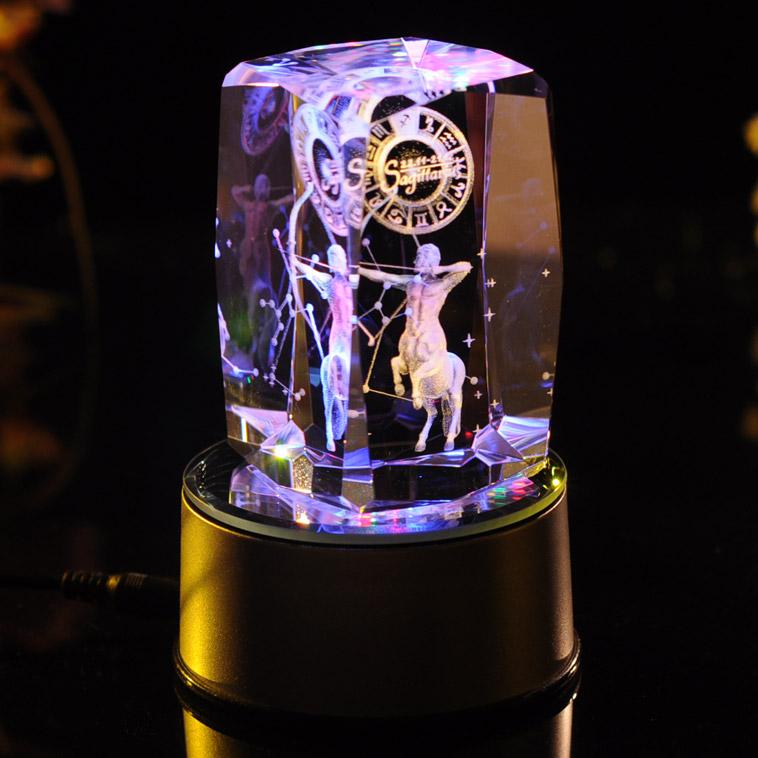 水晶内雕照片_3D水晶内雕-射手座:七彩旋转水晶内雕。工艺: 3D立体激光内雕 ...