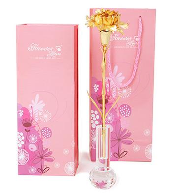999纯金箔康乃馨+水晶花瓶