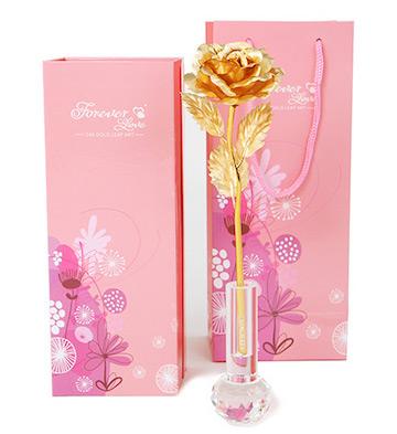 999纯金箔玫瑰+水晶花瓶