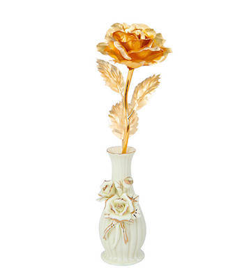 999纯金箔玫瑰+陶瓷花瓶