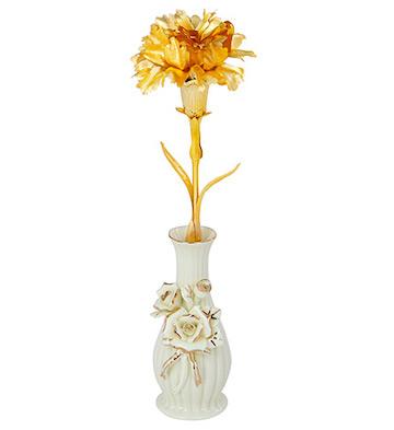 999纯金箔康乃馨+陶瓷花瓶