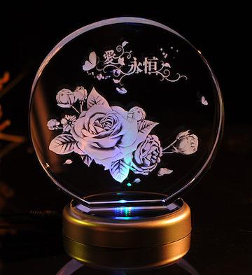 切角圆形3D水晶内雕玫瑰花