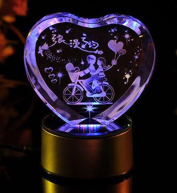 心形3D水晶内雕浪漫之约