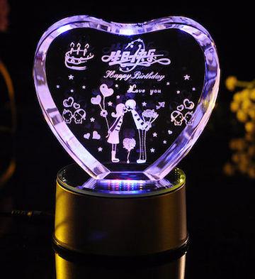 心形3D水晶内雕生日快乐